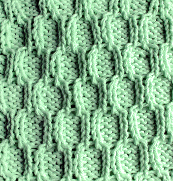Trellis Stitch —  Honeycomb Knitting Stitch Patterns