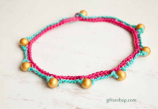 Crochet Beads Necklace or Bracelet Free Pattern Tutorial