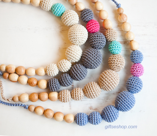 How to Make Crocheted Beads and Crocheted Beads Necklace Free Pattern ...