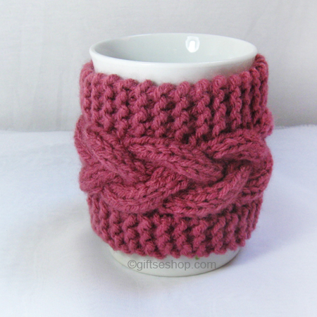 Knitted Mug Warmers Pattern : Cofee Cup Cozy   Cable Knit Wrap Mug Warmer   Gifts shop