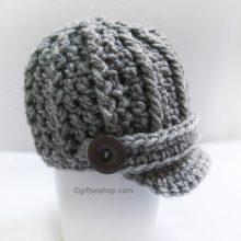 Baby Newsboy Hat- Crochet Baby Hat Brim 0-12 Months Photography Prop
