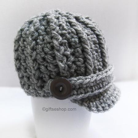 Crochet Pattern Baby Boy Hat Newsboy Hat Visor Cap N54 Newborn Baby