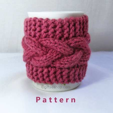 Mug Cozies Knitting Pattern : Cabled Cup Cozy Knitting Pattern- Coffee Mug Pattern PDF n 53   Gifts shop