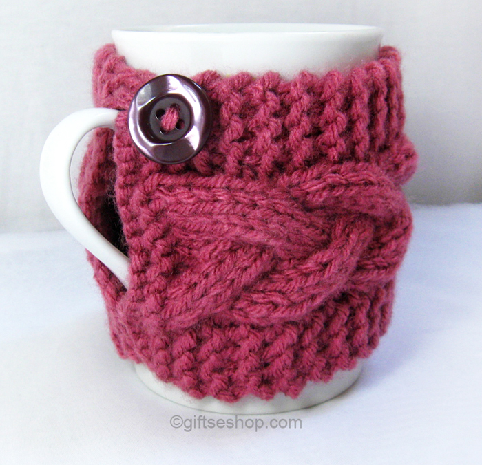 Knit Koozie Pattern : Cabled Cup Cozy Knitting Pattern- Coffee Mug Pattern PDF n 53   Gifts shop