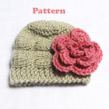 Knitting Patterns Baby Cable Hats : Baby Hat Knitting Pattern   Newborn Cable Hat Photo Prop PDF N52   Gifts shop