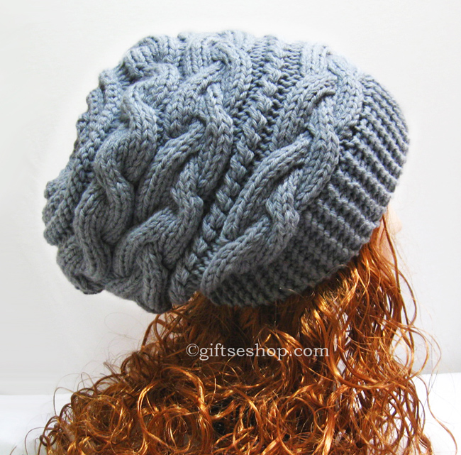 Slouchy Hat Knitting Pattern - Slouchy Beanie Women Hat- Thick Winter Hat