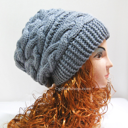 Beanie Knitting Pattern Straight Needles : Slouchy Hat Knitting Pattern   Slouchy Beanie Women Hat- Thick Winter Hat n56...