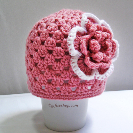 Crochet Baby Girl Hat with Flower- Summer Hat- Spring Hat