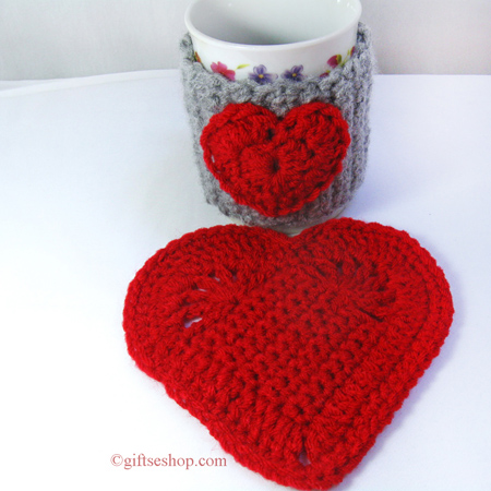 Crochet Heart Cup Cozy And Heart Coaster Patterns N62 Gifts Shop