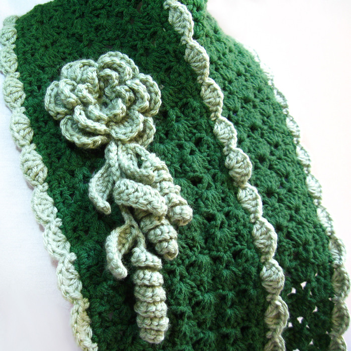 Crochet Scarf Pattern With Flower Sprigs Of Leaves Pdf N60 Gifts Shop