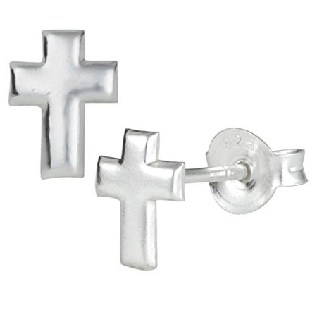 925 Sterling Silver Little Cross Stud Earrings for Children - Lead and Nickel Free, Safe for Sensitive Skin