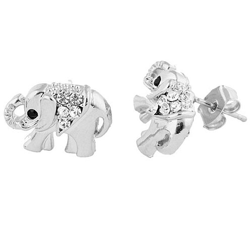 2 Pairs of Silver Iced Out Elephant Stud Earrings