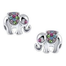 "Sparkling Multicolor Pink, Blue, Purple, Green Crystal Embellished Elephant Stud 1/2"" Earrings"