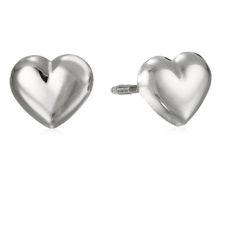 14k White Gold Puff Heart Baby Thread Earrings