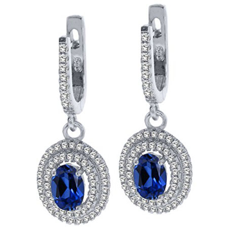 Oval Blue Created Sapphire 925 Sterling Silver Dangle Earrings