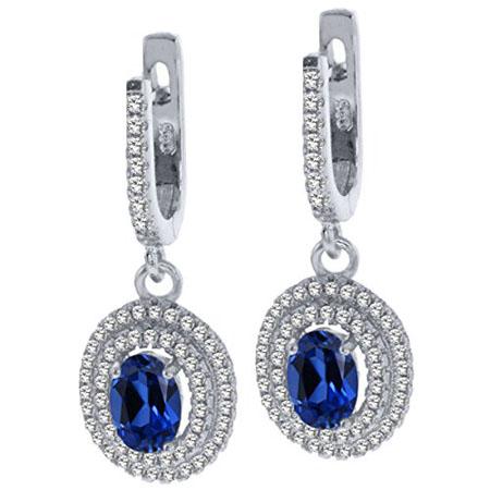Oval Blue Created Sapphire 925 Sterling Silver Dangle Earrings