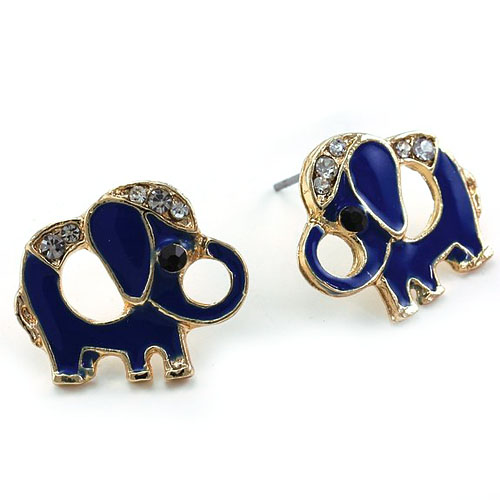 Royal Blue Baby Elephant Animal Stud Post Earrings Clear Rhinestones