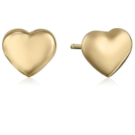 14k Yellow Gold Tiny Heart Button Earrings