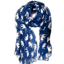 Gorgeous Blue Elephant Print Long & Soft Scarf Shawl/Wrap - Large