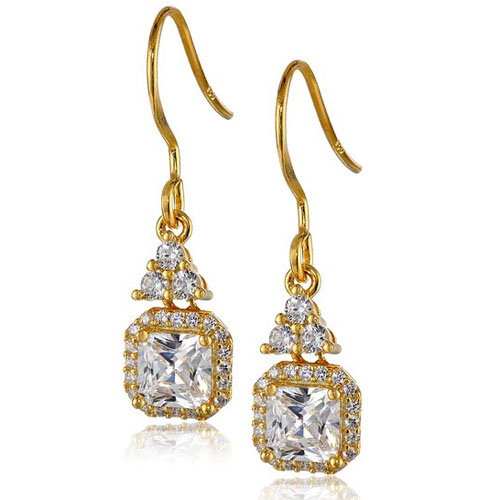 14k Yellow Gold Plated Sterling Silver Princess Cubic Zirconia Halo Drop Earrings
