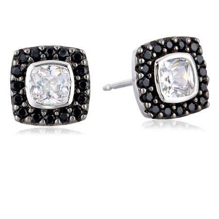 Sterling Silver Two-Tone Black Spinel and White Cubic Zirconia Cushion Cut Stud Earrings