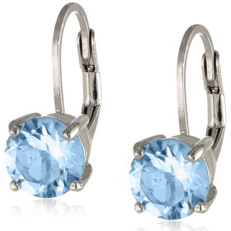 Gemstone Leverback Earrings in Sterling Silver