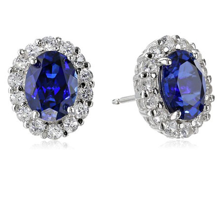 Sterling Silver Blue and White Created Sapphire Oval Earrings