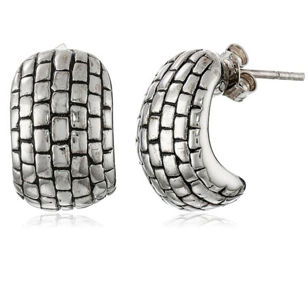 Sterling Silver Basket Weave Electroform Post Earrings