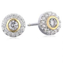 18k Yellow Gold Plated Sterling Silver Two-Tone Cubic Zirconia Halo Stud Earrings