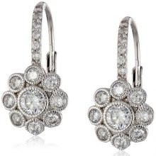 Sterling Silver Flower Cubic Zirconia Leverback Dangle Earrings