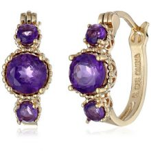 "18k Gold-Plated Sterling Silver African Amethyst Hoop Earrings (0.7"" Diameter)"