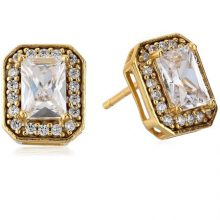 Emerald Cut Cubic Zirconia Halo Stud Earrings