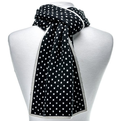 Mens Wool Blend Scarf Black White