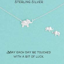 Sterling Silver Elephant Necklace and Earrings Jewelry Set
