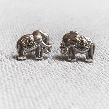 Silver Elepant Earrings Studs, Elephant Earrings