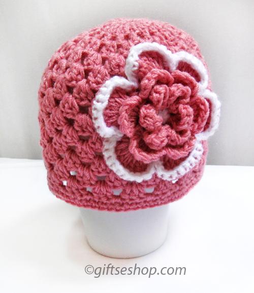 Crochet Baby Girl Hat with Flower- Summer Hat- Spring Hat
