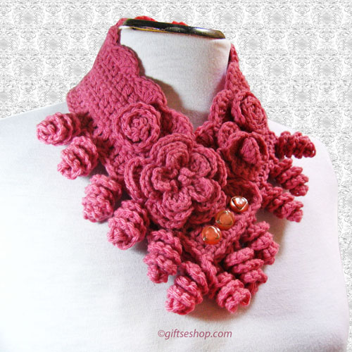 Crochet Cowl Pattern Crochet Neck Warmer Pattern With Flowers N70