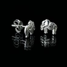 elephant silver stud earrings, silver elephant