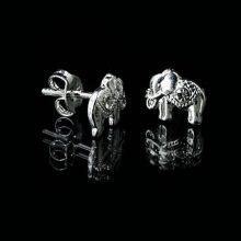 elephant silver stud earrings, silver elephant