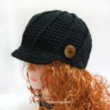 Crochet Newsboy Hat- Black Newsboy Cap Mens Womens