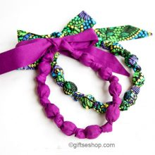 Fabric knot bead necklace