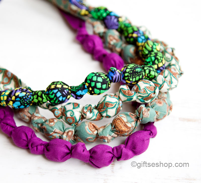 Fabric Knot Bead Necklaces