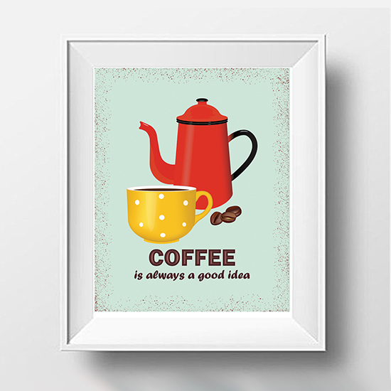 Art Prints For Kitchen Wall: Coffee Poster, Coffee Print, Kitchen Prints, Kitchen Wall