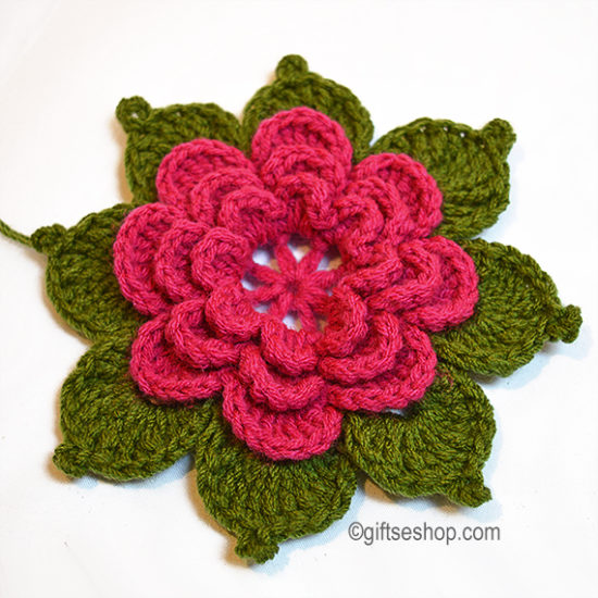 crochet flower pattern with leaves