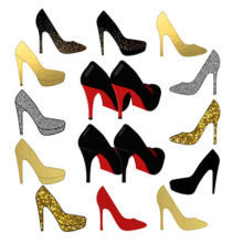 shoes clipart, high heel clipart, sparkle clipart, wedding clipart