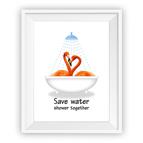 Bathroom Wall Decor Save Water Shower Together Funny Bathroom Art